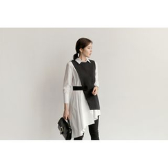 UPTOWNHOLIC - Set: Asymmetric-Hem Long Shirt + Sleeveless Vest With Sash