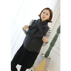 Lemite - Set: Padded Zip-Up Vest + Padded Scarf