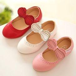 绿豆蛙童鞋 - 儿童蝴蝶结带平跟鞋