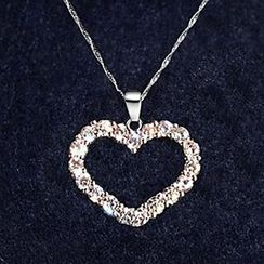 Nanazi Jewelry - Rhinestone Heart Necklace