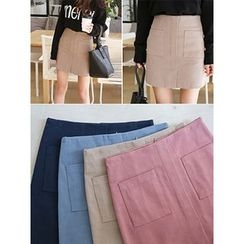 hellopeco - Dual-Pocket Pencil Skirt