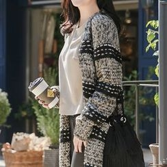Ichiyarn - Striped Chunky Knit Long Cardigan