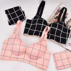 Heroine - Set: Check Wireless Bra + Panties