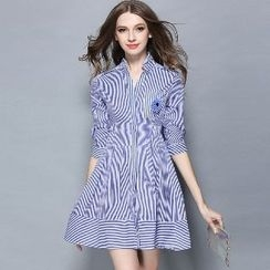 Amella - Striped A-Line Dress