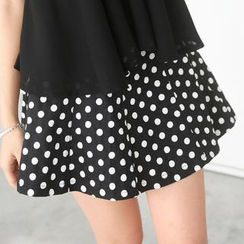59 Seconds - Inset Shorts Polka Dot A-Line Skirt