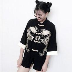 Miss Kekeli - Dragon Embroidered 3/4 Sleeve Light Jacket