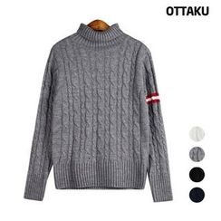 Seoul Homme - Turtle-Neck Cable-Knit Sweater