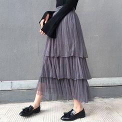 Lyrae - Tiered Maxi Mesh Skirt