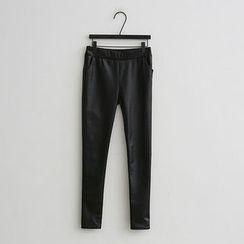 NANING9 - Faux-Leather Fleece-Lined Leggings