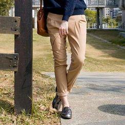 CatWorld - Elastic-Waist Pleated Tapered Pants