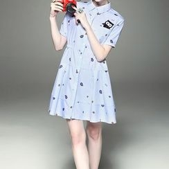 Alaroo - Owl Applique Short-Sleeve Shirtdress