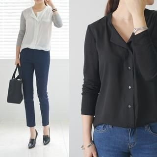 45SEVEN - Open-Placket Long-Sleeve Blouse