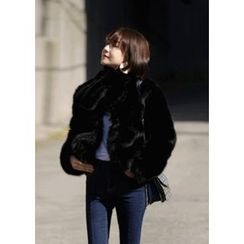 ssongbyssong - Faux-Pearl Faux-Fur Jacket