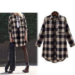 Cherry Dress - Gingham Long Shirt
