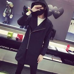 Bay Go Mall - Asymmetric Zip Hooded Jacket