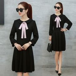 Ekim - Bow Accent Long Sleeve Dress