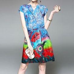 Alaroo - Printed V-Neck Short-Sleeve A-Line Dress