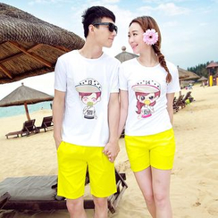 Azure - Couple Matching Set: Print T-Shirt + Shorts