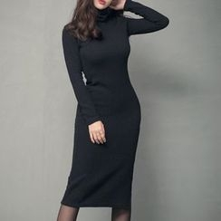 Wild Ivy - Turtleneck Ribbed Sheath Dress