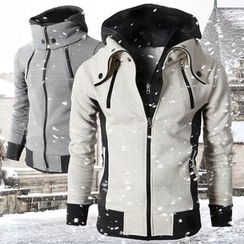 百高 - 配色邊拉鍊夾克