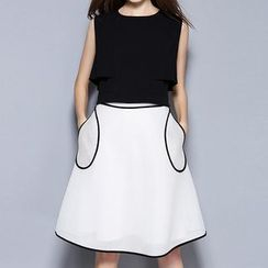 Merald - Set: Sleeveless Zip Back Blouse + Piped A-Line Skirt