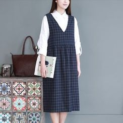 Mellow Fellow - Check Pinafore Dress