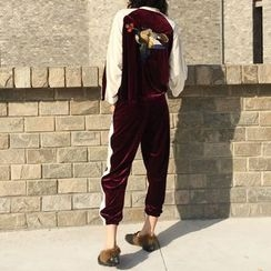 ZAPPA - Set: Embroidered Velvet Zip Jacket + Sweatpants