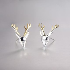 Zundiao - Sterling Silver Deer Stud Earrings