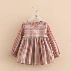 貝殼童裝 - 兒童條紋長袖連衣裙