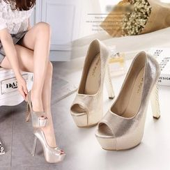 Monde - Metallic Peep Toe Platform Pumps