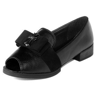 yeswalker - Peep-Toe Bow-Accent Loafers