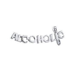MBLife.com - Left Right Accessory - 'ALCOHOLIC' 925 Sterling Silver Playful Word Lettering Single Earring, Women Fashion Jewelry
