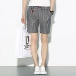 Mr. Only - Pinstriped Drawstring Shorts