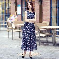 Sonatine - Floral Print Sleeveless Pleated Maxi Chiffon Dress