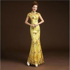 Posh Bride - Cap-Sleeve Lace Mermaid Cheongsam