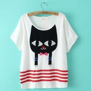 JVL - Short-Sleeve Cat-Appliqué Striped T-Shirt