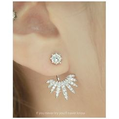 Miss21 Korea - Rhinestone Multi-Prong Ear Jacket (2 pcs)