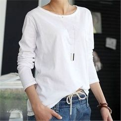 CHICFOX - Round-Neck Plain T-Shirt