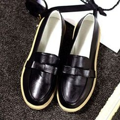 Zandy Shoes - Faux-Leather Bow-Accent Loafers