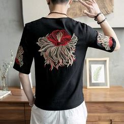 Masowild - Flower Embroidered Short Sleeve Top