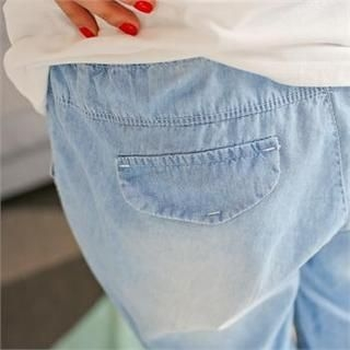 Styleberry - Band-Waist Denim Cropped Harem Pants