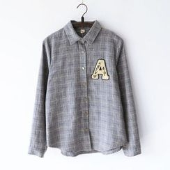 Bonbon - Alphabet Applique Check Long-Sleeve Shirt
