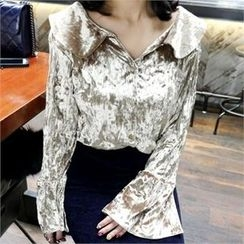 LIPHOP - Velvet Crinkled Blouse