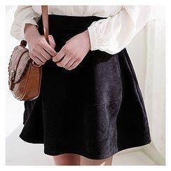 Sechuna - Band-Waist Mini A-Line Skirt