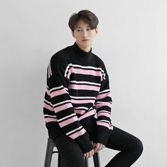 Seoul Homme - Mock-Neck Color-Block Sweater