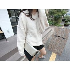 MARSHMALLOW - V-Neck Knit Top