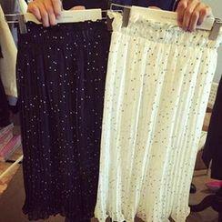 Dute - Dotted Midi Chiffon Skirt
