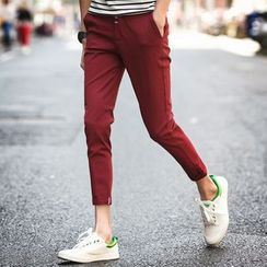 Pinth - 纯色九分斜纹裤