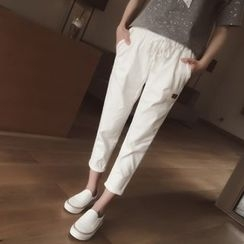 Cocofield - Drawstring Waist Cropped Pants