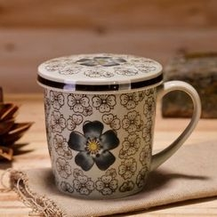 Time4Tea - Floral Print Cup with Lid
